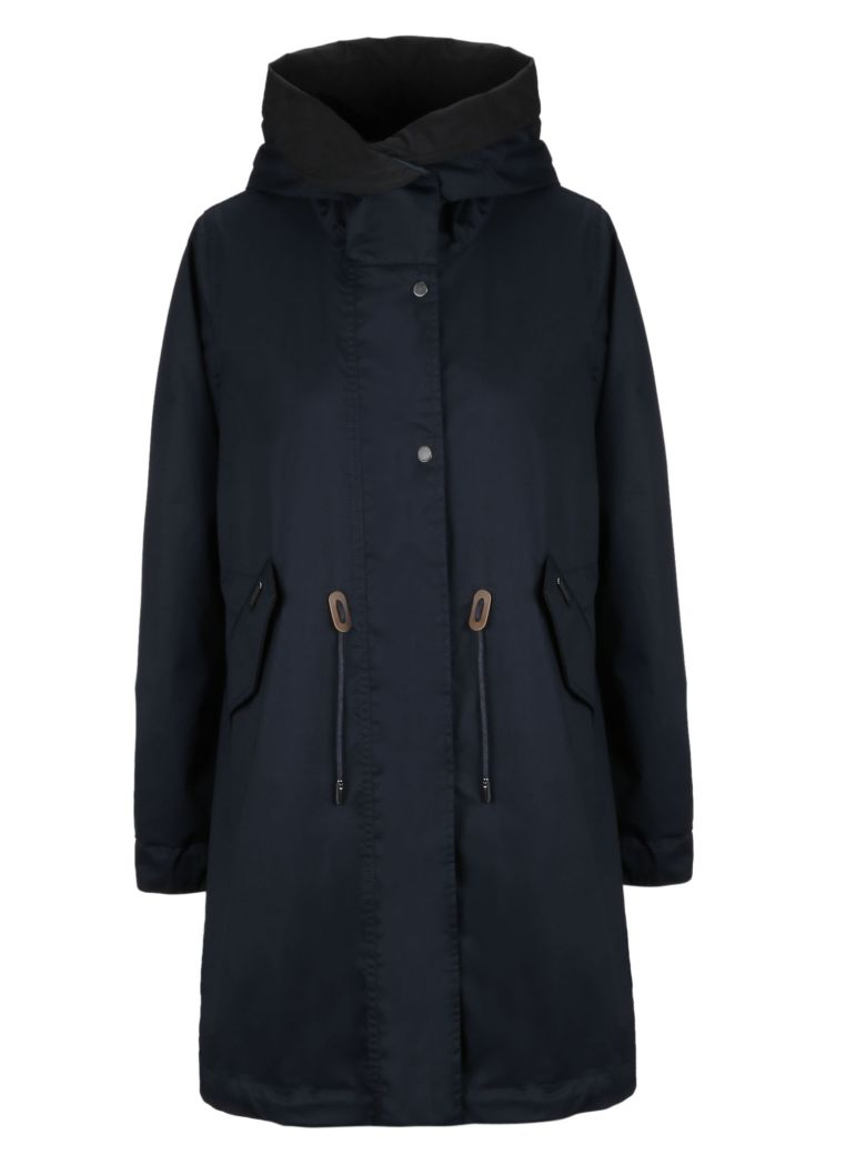 Woolrich Hooded Parka Coat - Dark Navy