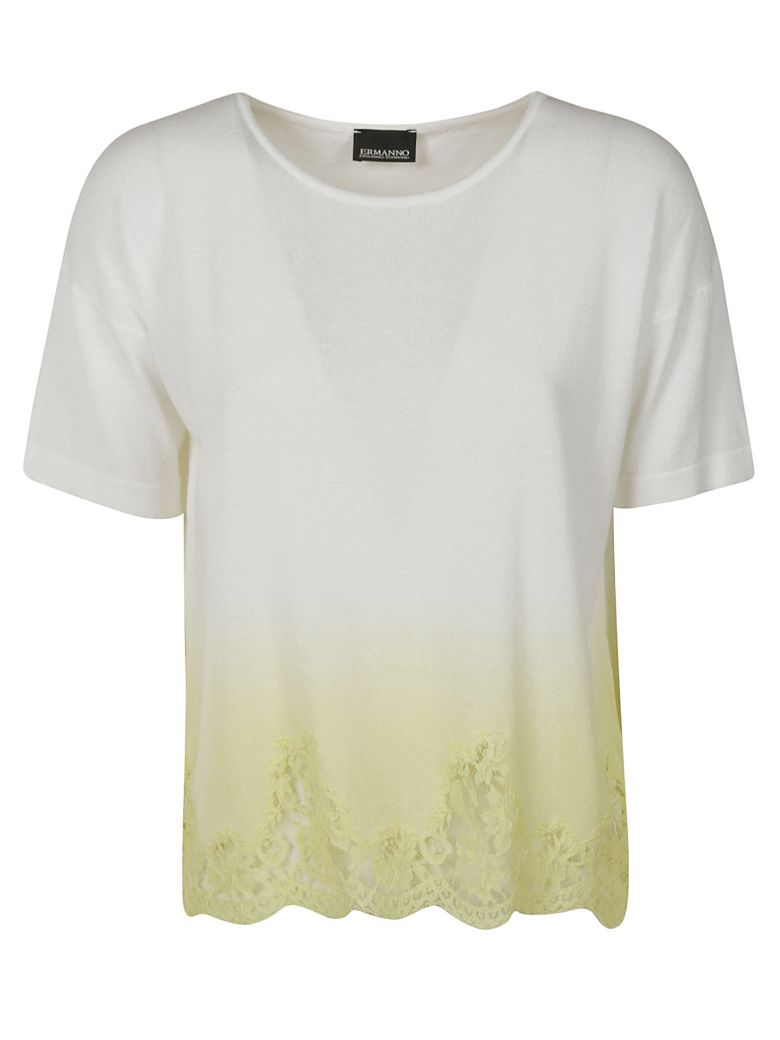 Ermanno Scervino Laced Hem T-shirt - White/Yellow