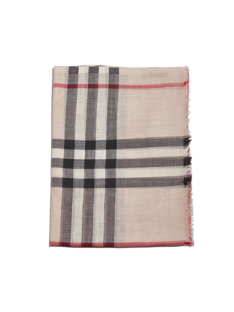 Burberry Checked Print Scarf - Beige multicolor