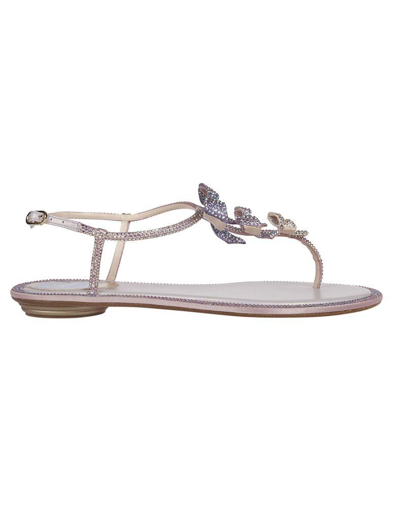 René Caovilla Embellished Bow Sandals - Beige