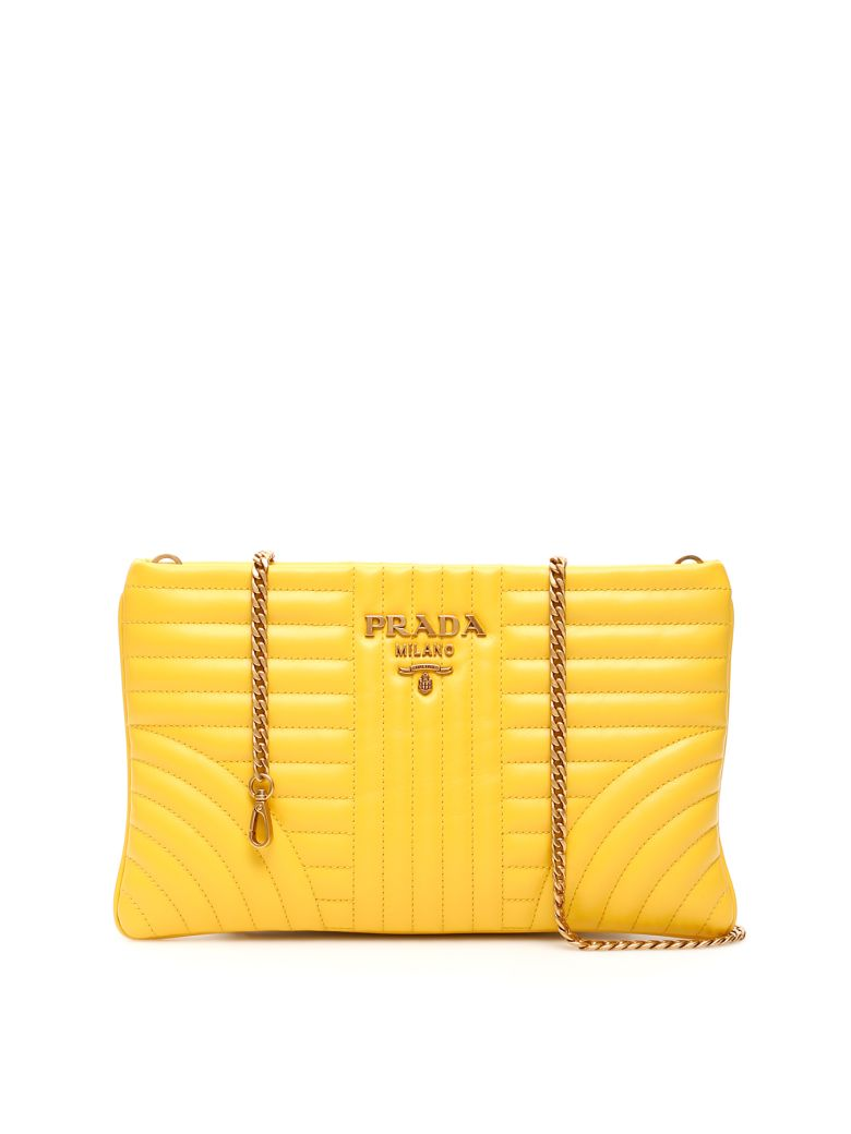 Prada Diagramme Clutch With Chain - SOLE (Yellow)