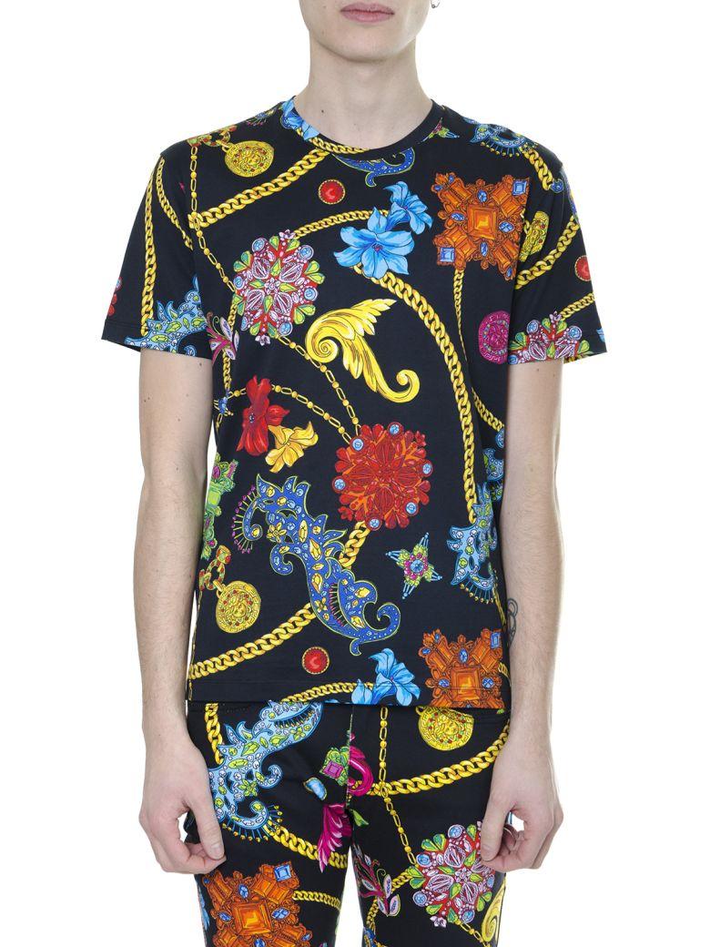 "Versace Multicolor Print ""gioielleria Jetés"" T-shirt In Cotton - Black/multicolor"