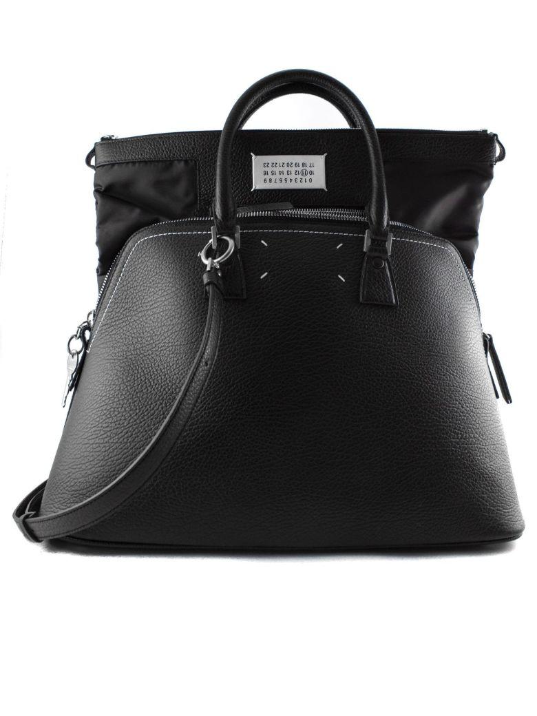 Maison Margiela Black Leather Bag With Double Handle. - Nero