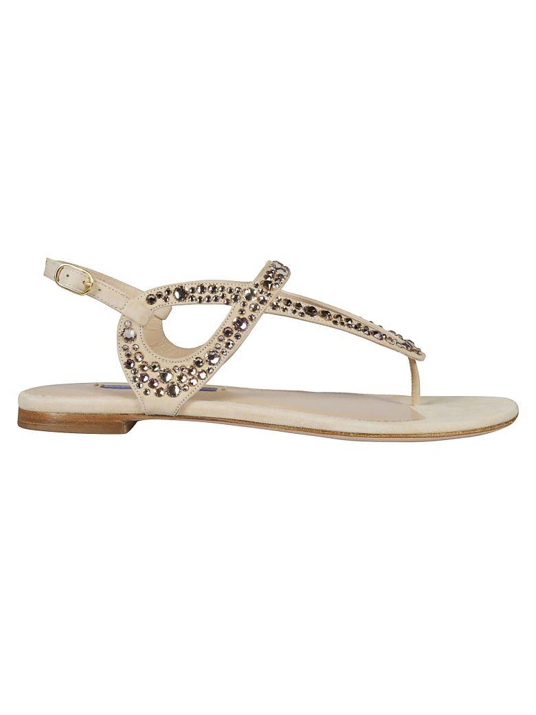Stuart Weitzman Embellished Sandals - Beige