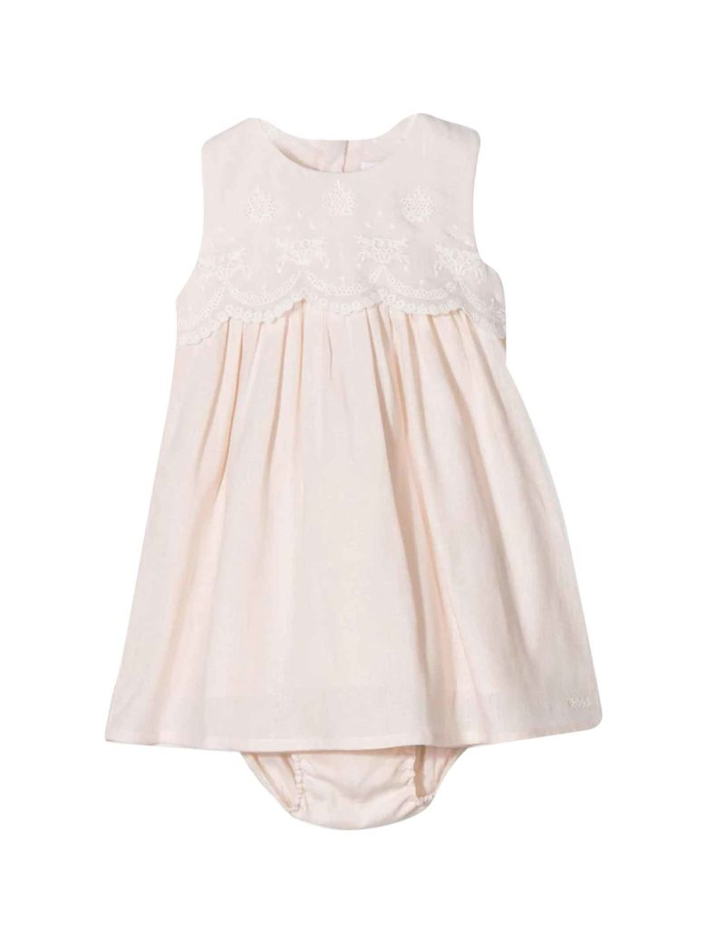 Chloé Pink Baby Dress With Embroidery Chloé Kids - Salmone