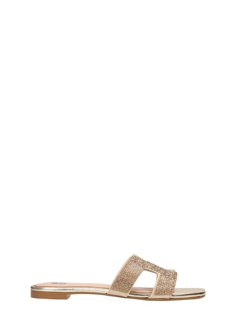 Bibi Lou Gold Leather Flats Sandals - Gold