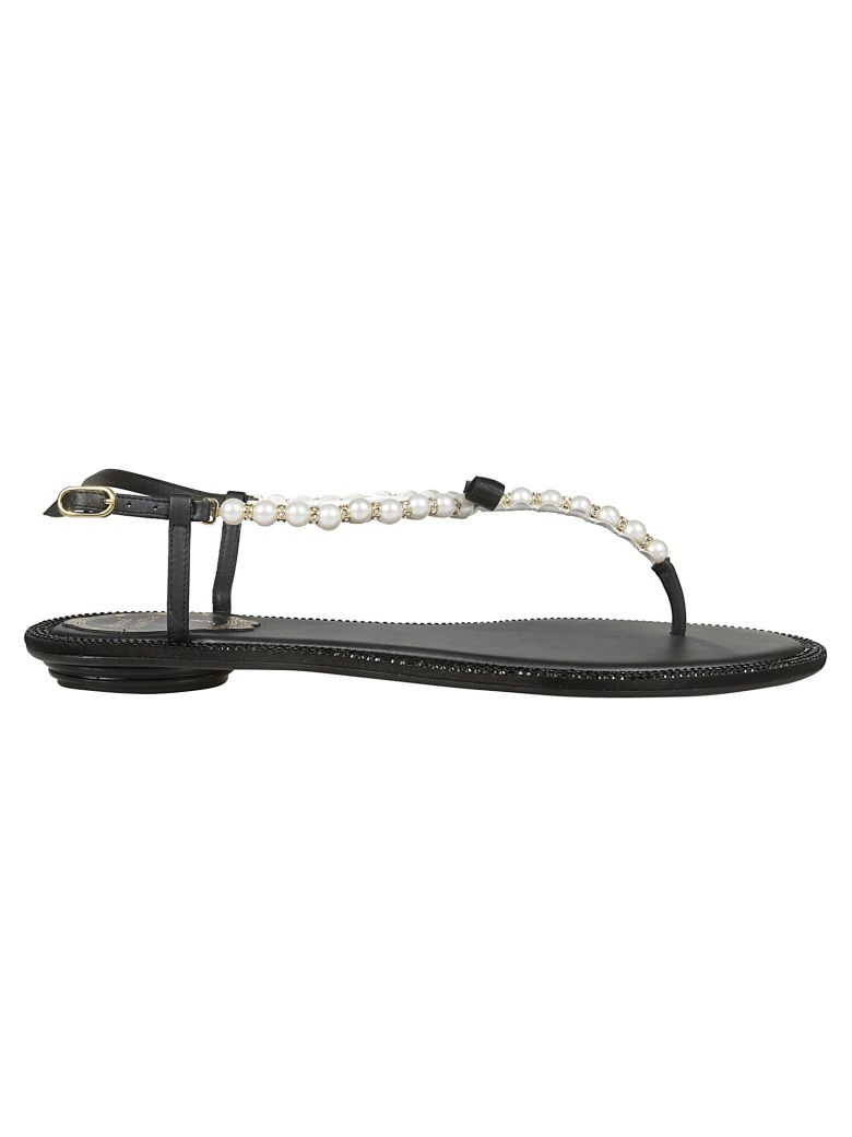 René Caovilla Pearled T-bar Sandals - Black