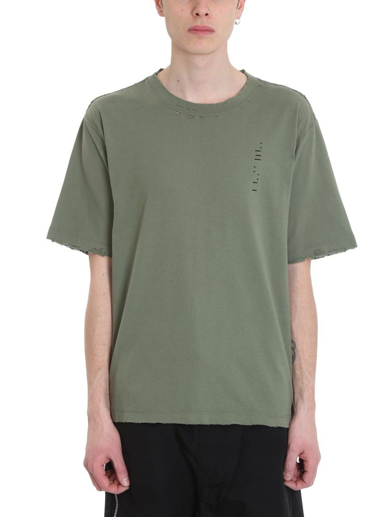 Ben Taverniti Unravel Project To Create Vintage Green Cotton T-shirt - green