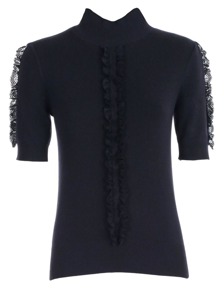 See by Chloé Sweater S/s High Neck W/insert - Ink Navy