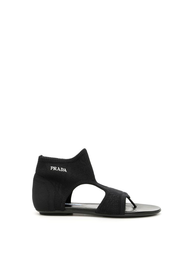 Prada Stretch Sock Sandals With Logo - NERO (Black)