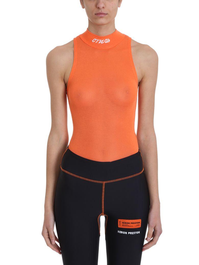 HERON PRESTON Orange Turtleneck Fitted Stretch-jersey Body - orange