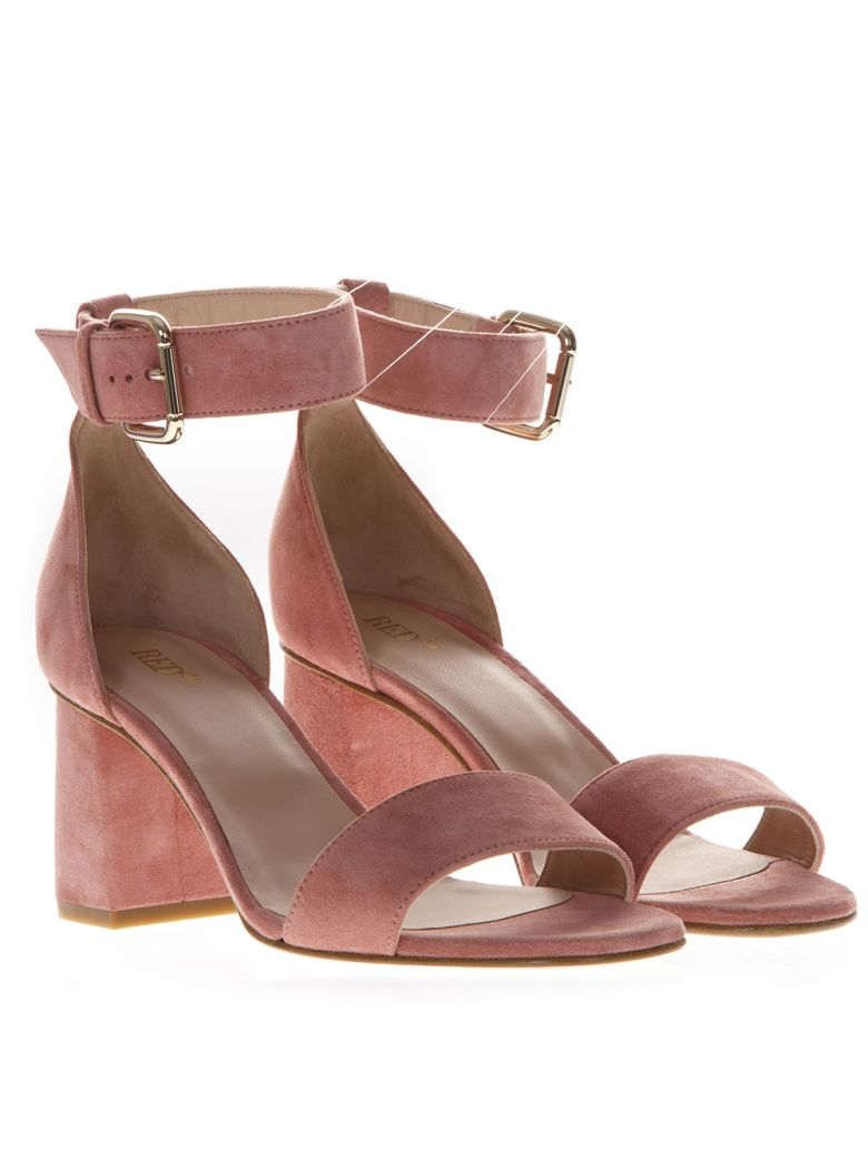 RED Valentino 60mm Chunky Heel Rose Suede Sandals - Pink