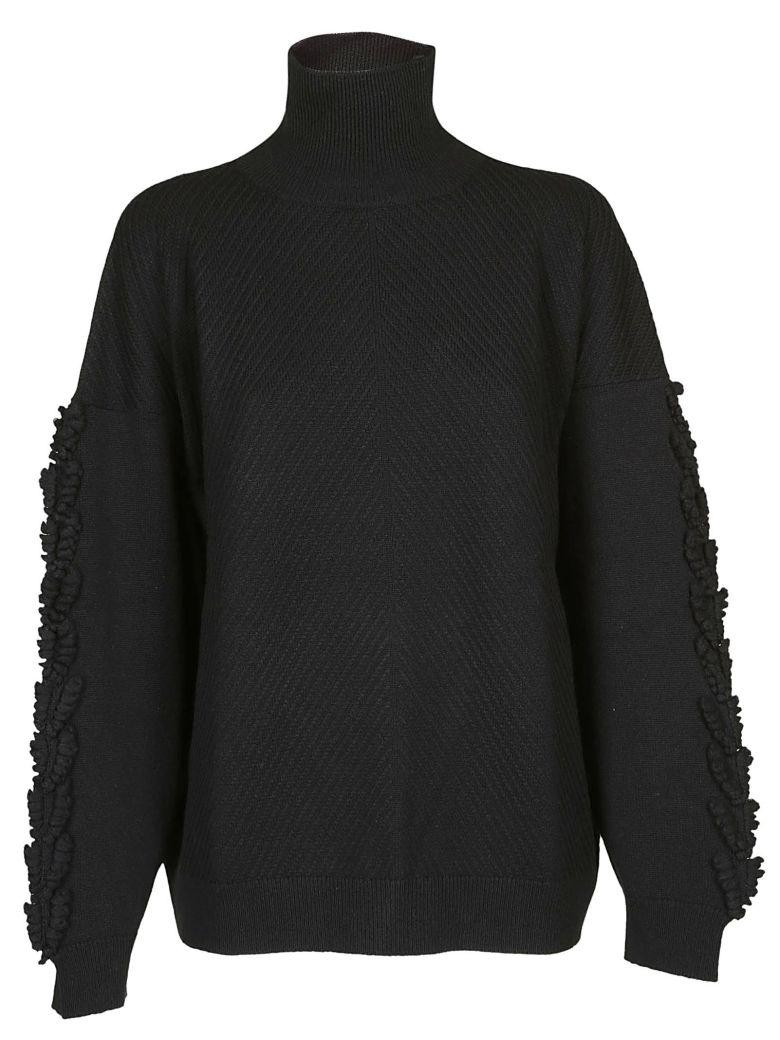 Barrie Fringe Detail Oversized Sweater - Black