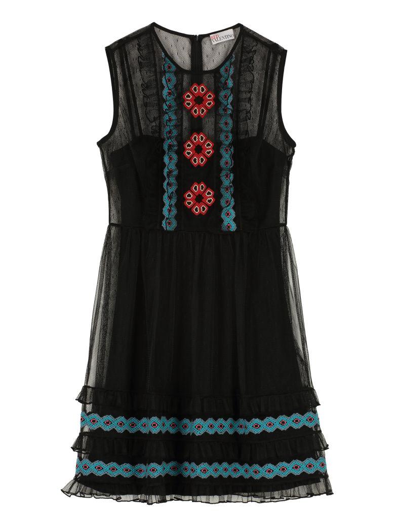 RED Valentino RED Valentino Embroidery Tulle Dress - black ... 6f01f8e47