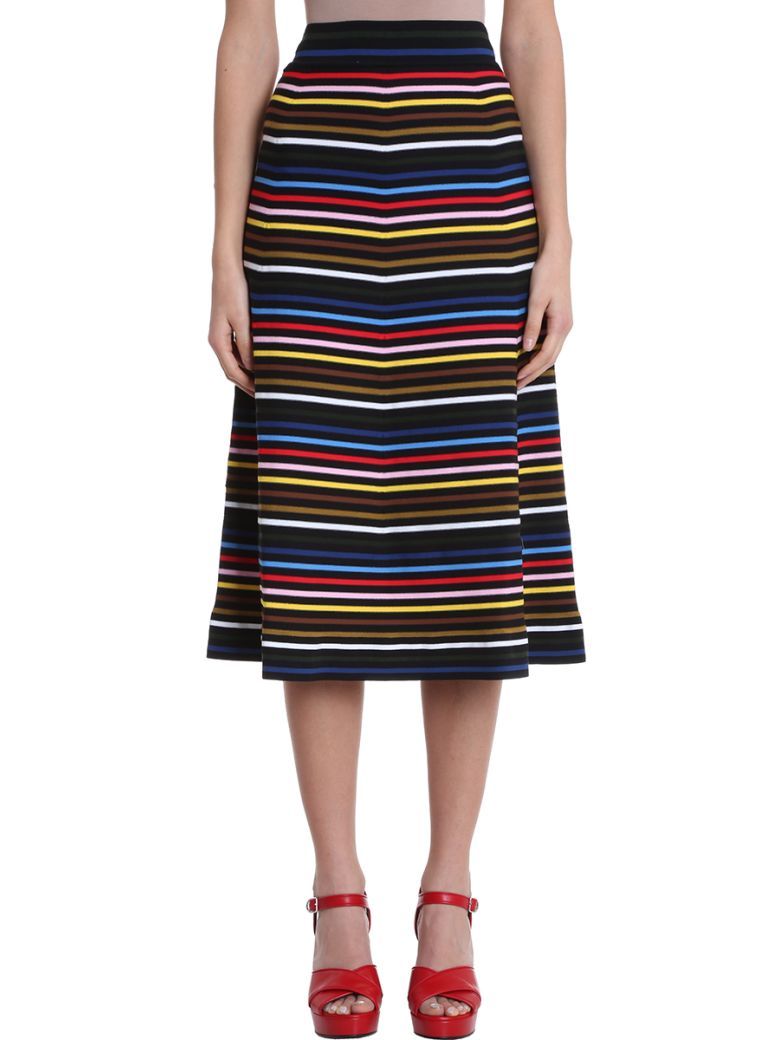 Sonia Rykiel Jupe Stripe Multicolor Cotton Midi Skirt - multicolor