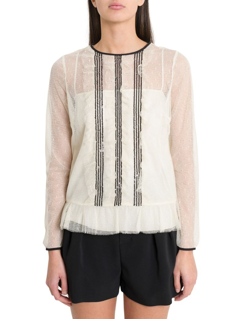 RED Valentino Point D'eprit Tulle Top - Bianco