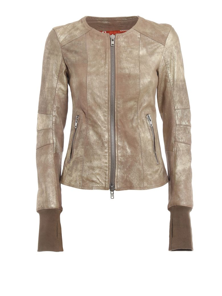 S.W.O.R.D 6.6.44 Zipped Leather Jacket - Gold