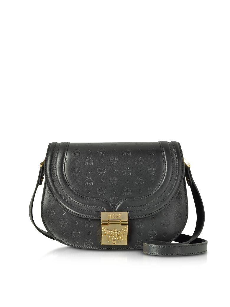 MCM Trisha Black Monogrammed Leather Small Shoulder Bag - Black