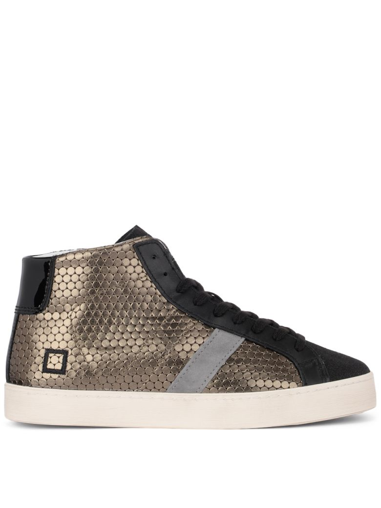 D.A.T.E. Hill High Pong Black And Golden Leather Sneakers - Gold