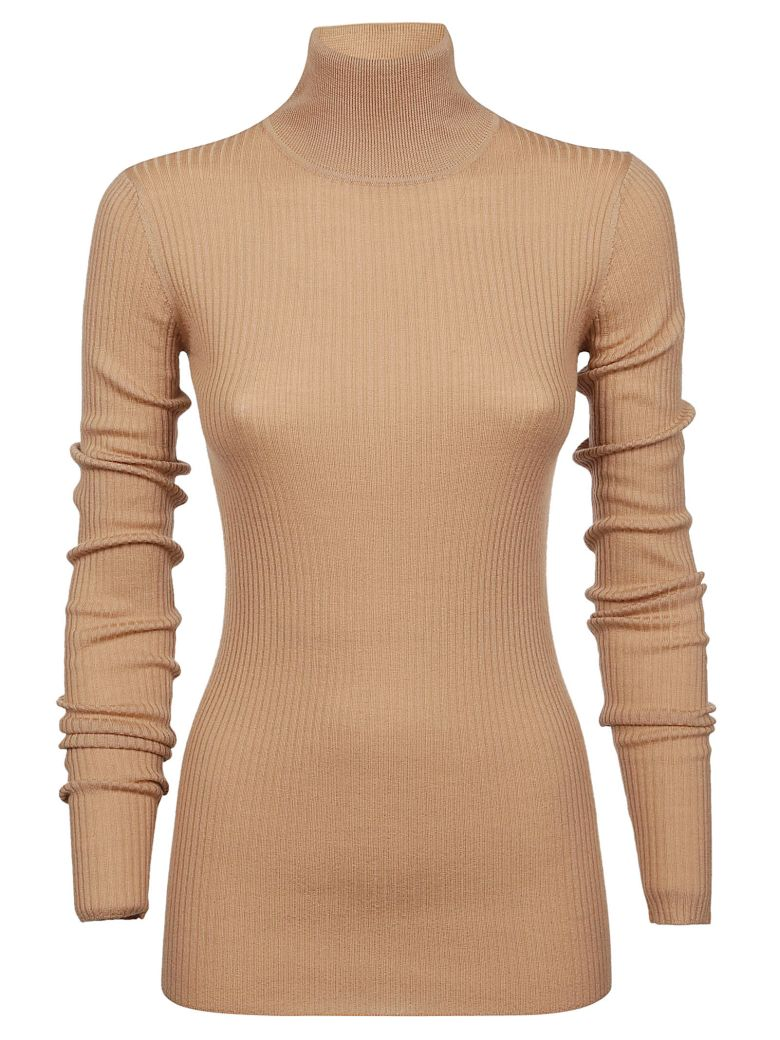 Jil Sander Navy Ribbed Turtleneck Sweater - Beige
