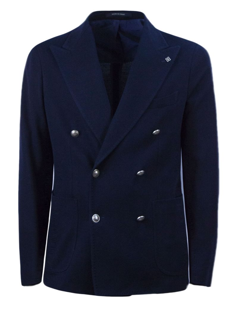Tagliatore Blue Cotton Double-breasted Jacket - Blu