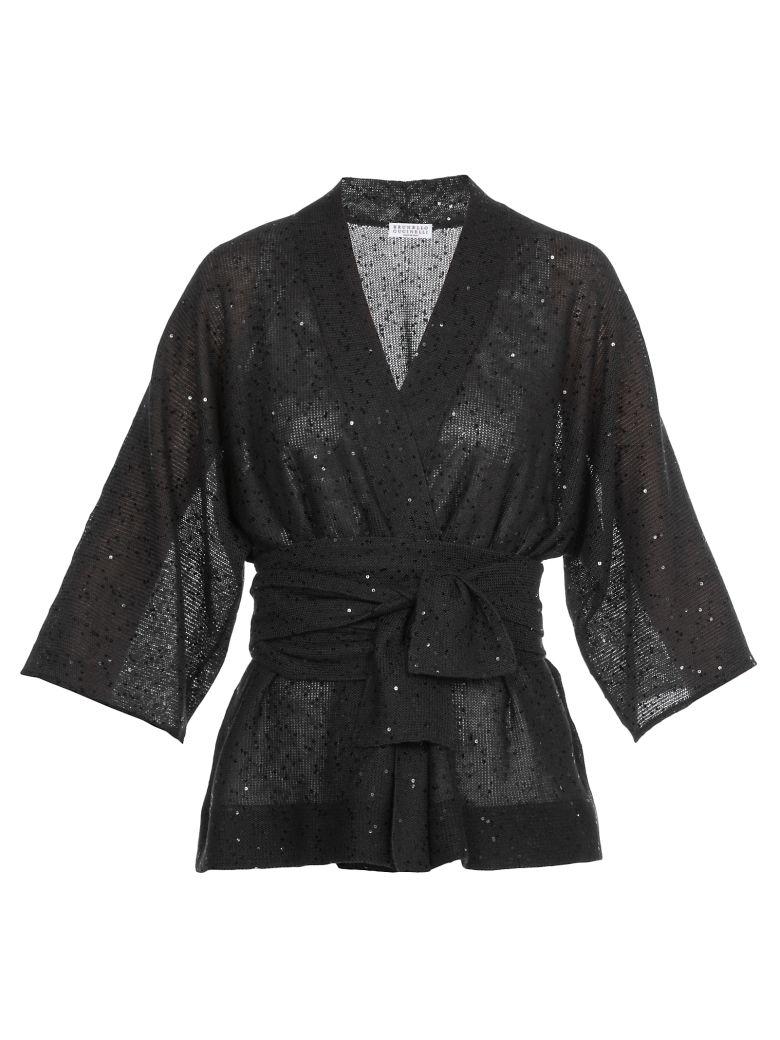 Brunello Cucinelli Cardigan With Sequins - Black