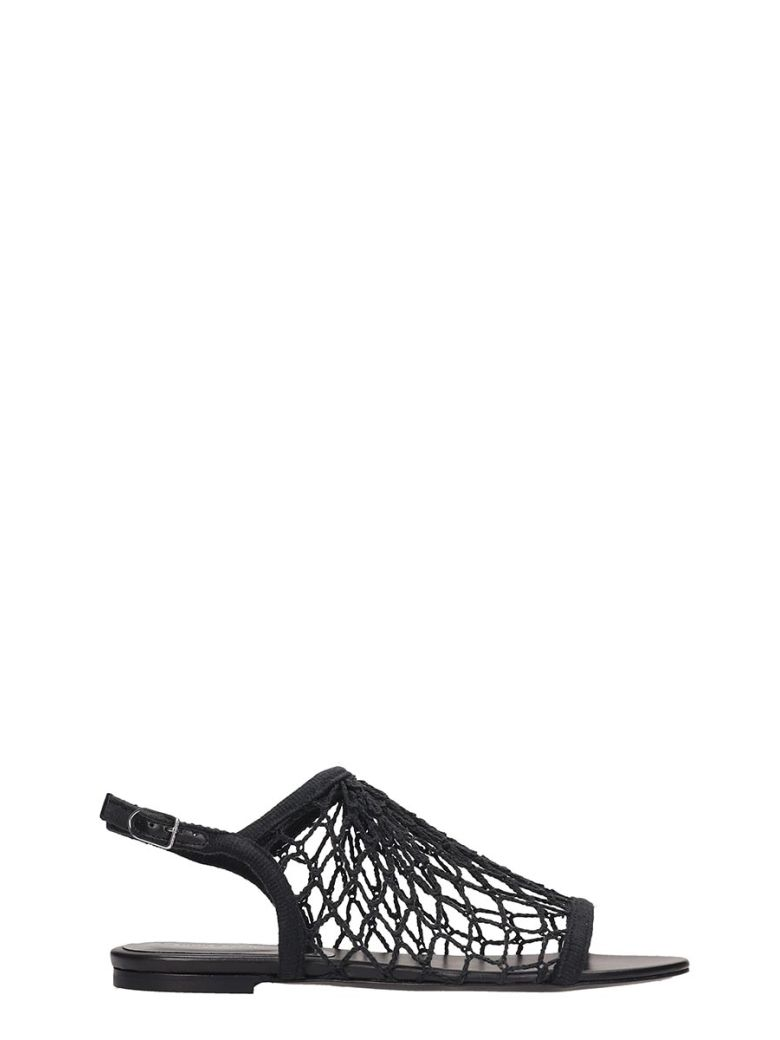 Sonia Rykiel Black Canvas Flat Sandals - black