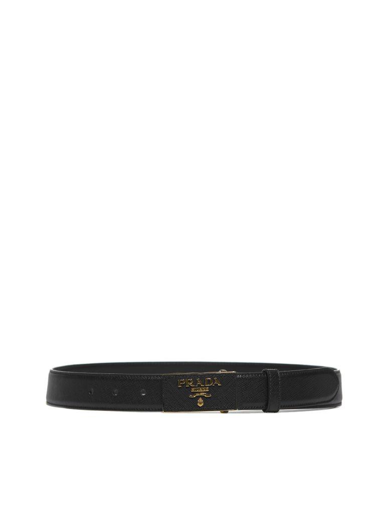 Prada Saffiano Logo Belt - Nero