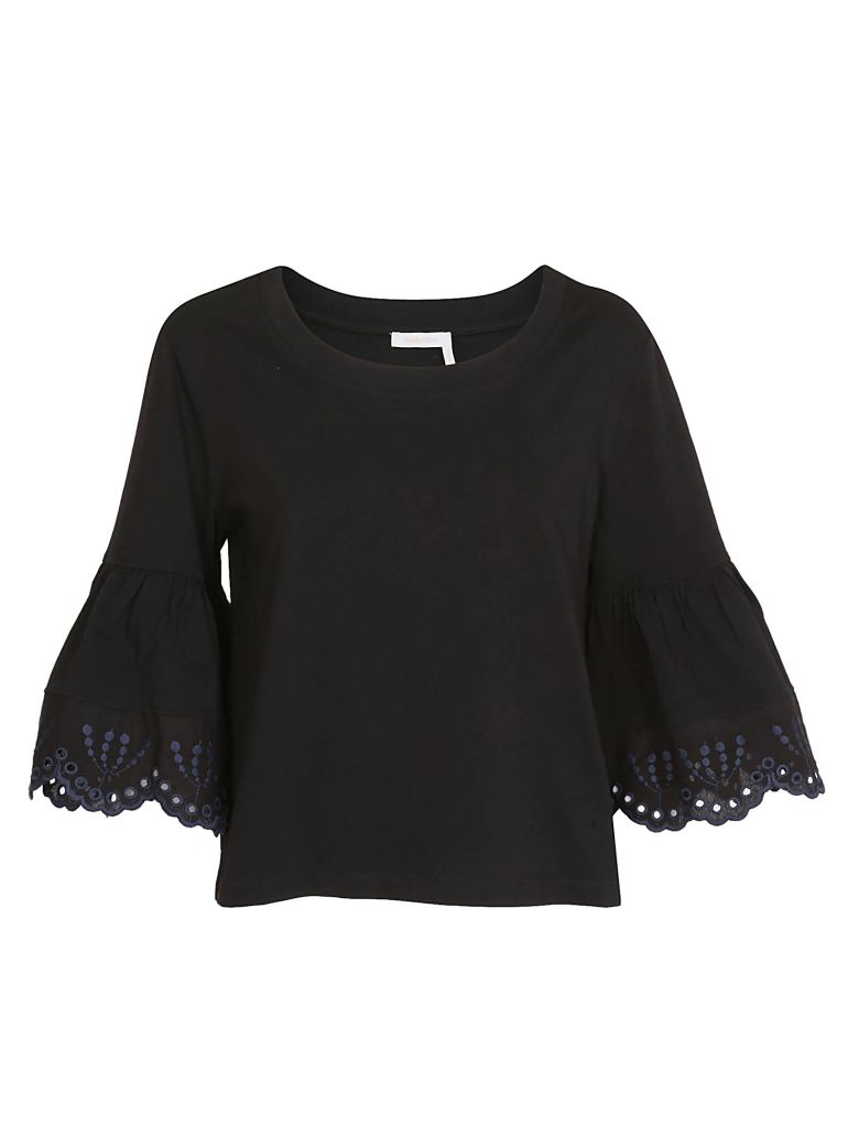 See by Chloé Embroidered Sleeve T-shirt - Black
