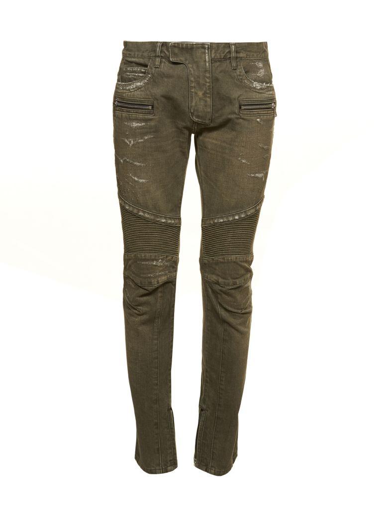 Balmain Distressed Biker Jeans - Verde chiaro