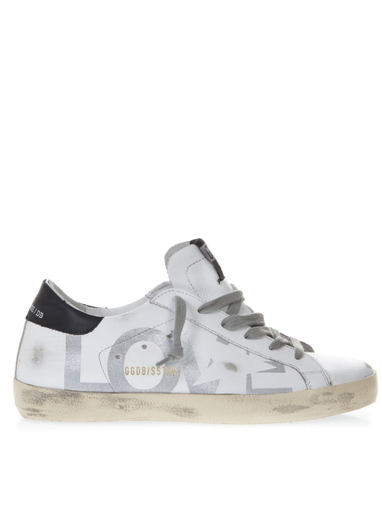 Golden Goose White Sneakers Love Print In Leather - White/silver