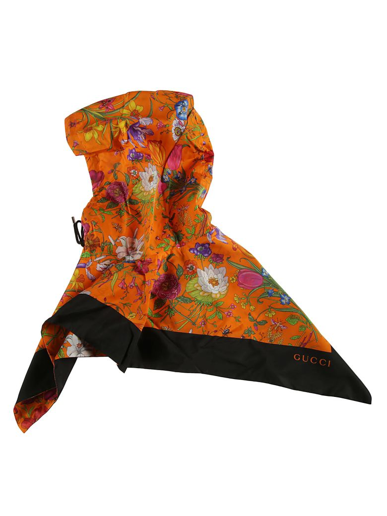 Gucci Floral Print Hood - orange
