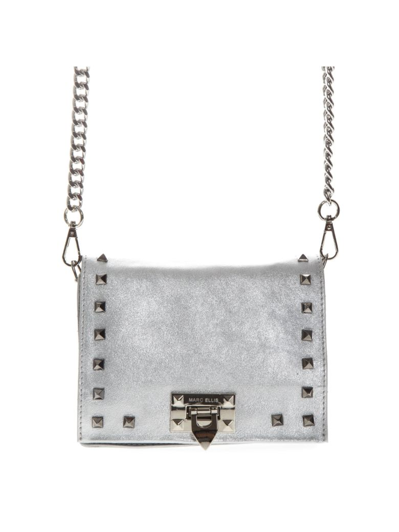 Marc Ellis Totes MARC ELLIS TOTE HAILEE SILVER BAG IN LAMINATED LEATHER