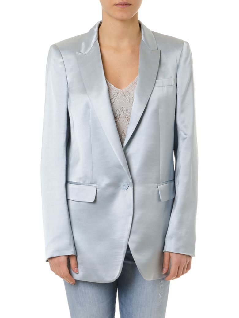 Dondup Shiny Sky Blue Single Breast Jacket - Azul