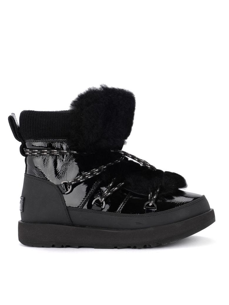 UGG Highland Black Leather, Rubber And Sheepskin Ankle Boots - Black