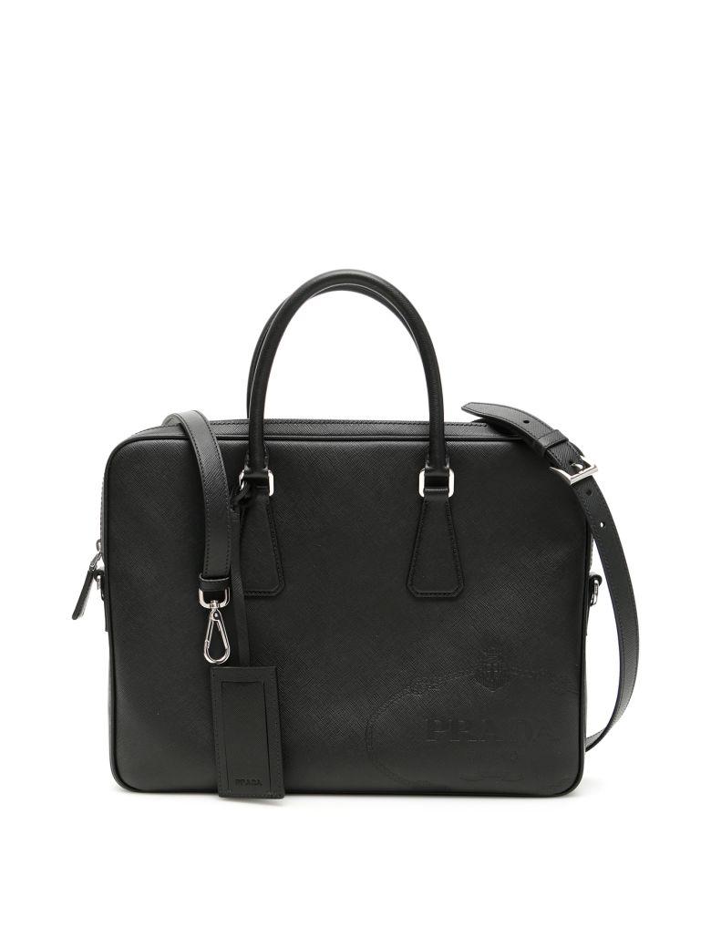 Prada Saffiano Briefcase With Maxi Logo - NERO (Black)
