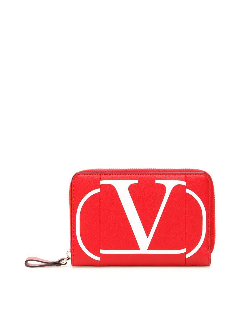 Valentino Zip-around Wallet With Go Logo - ROUGE PUR BIANCO OTTICO (Red)