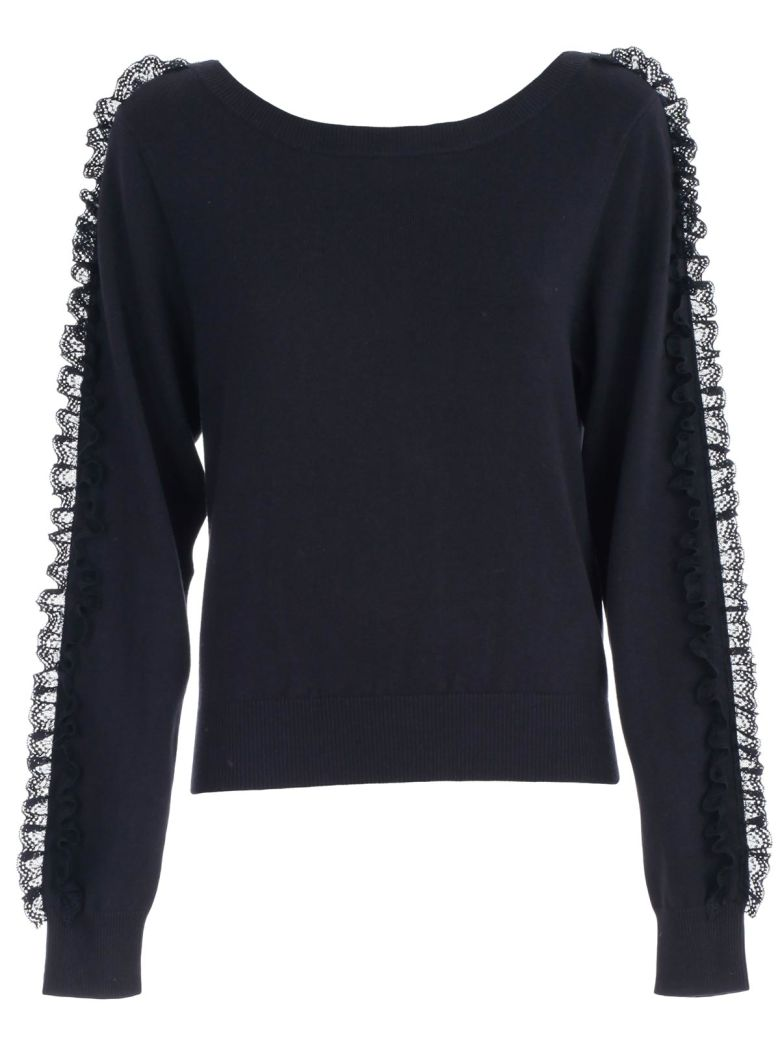 See by Chloé Sweater L/s Boat Neck W/insert - Ink Navy