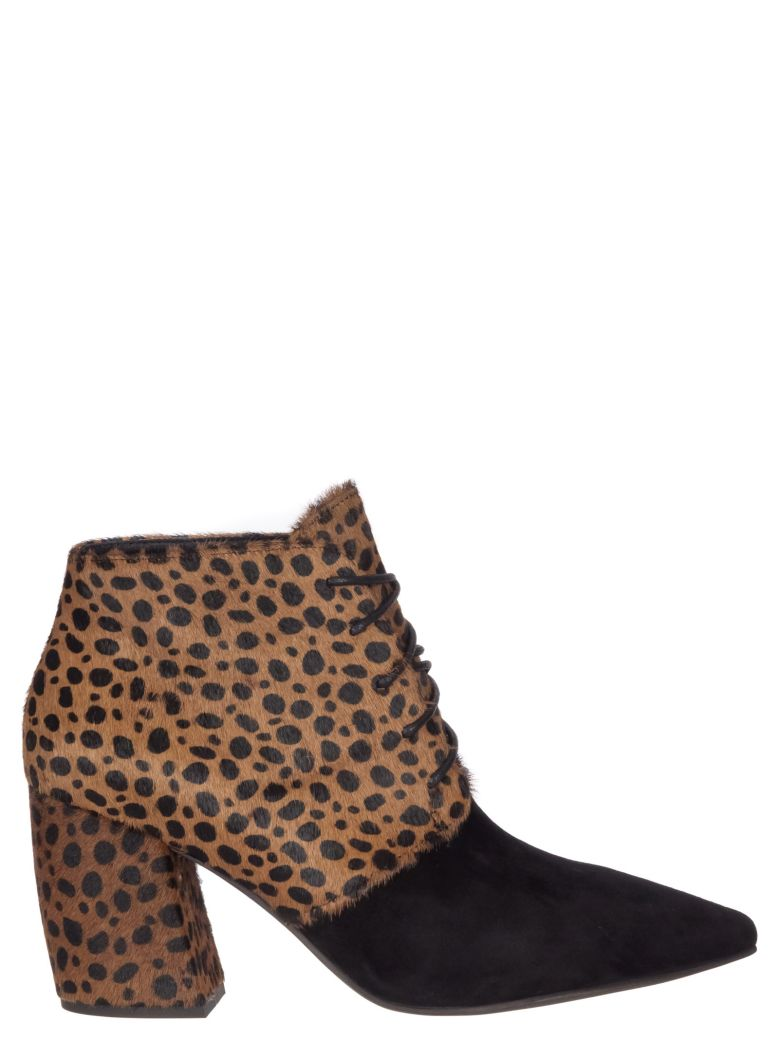 Jeffrey Campbell Suede Calf Hair Ankle Boots - Black