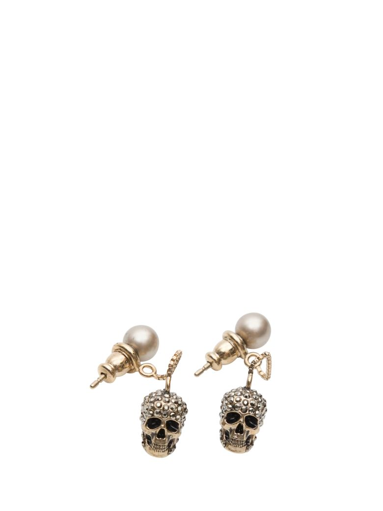 Alexander McQueen Pave Skull Chain Earrings - Argento