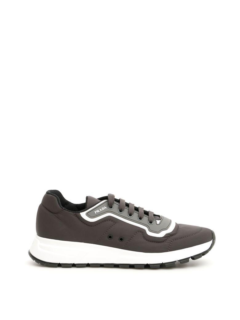 Prada Soft Gabardine Sneakers - FUMO BIANCO (Grey)