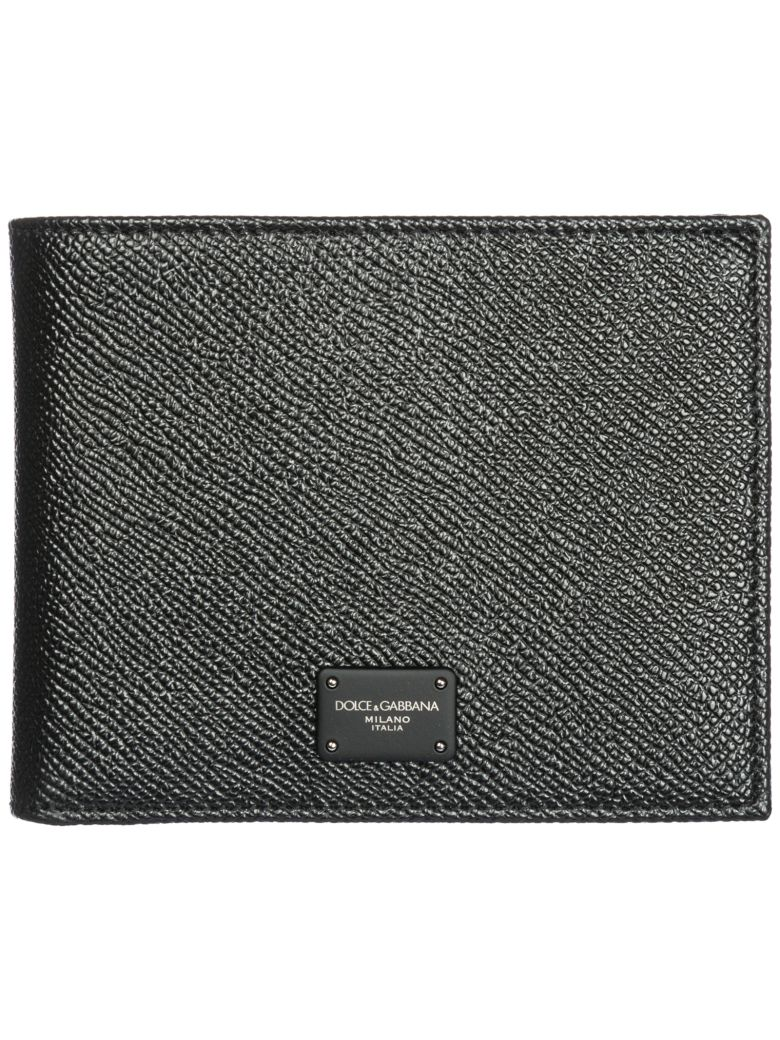 Dolce & Gabbana  Wallet Genuine Leather Coin Case Holder Purse Card Bifold - Black