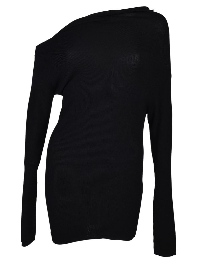 Jil Sander Navy Asymmetric Neck Sweater - Black