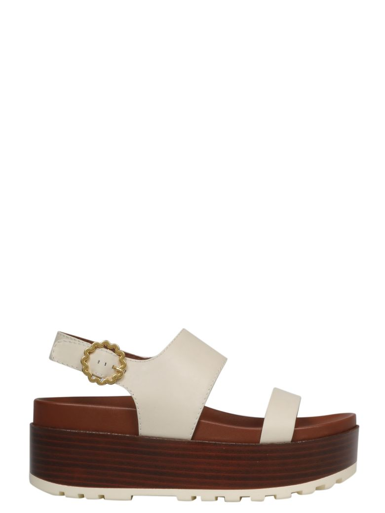 See by Chloé Buckled Wedge Sandals - Chalk