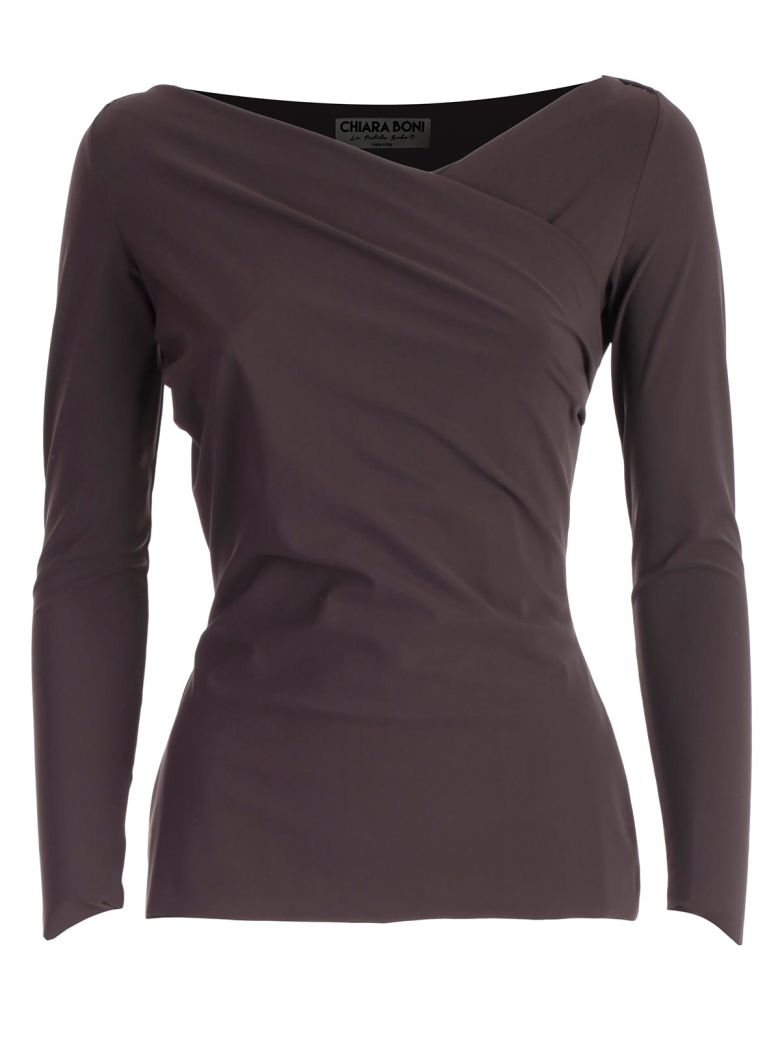 La Petit Robe Di Chiara Boni Top M/l Scollo A V Incrociato - Coffee