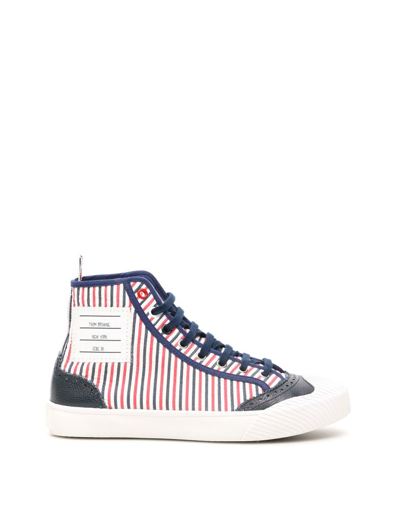 Thom Browne Hi-top Trainer Sneakers - BLUE WHITE RED (White)