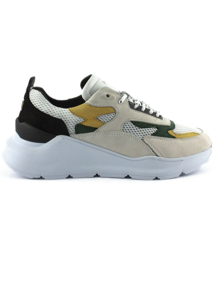 D.A.T.E. Running Sneakers In Grey And Black Nubuck Leather - Grigio+giallo