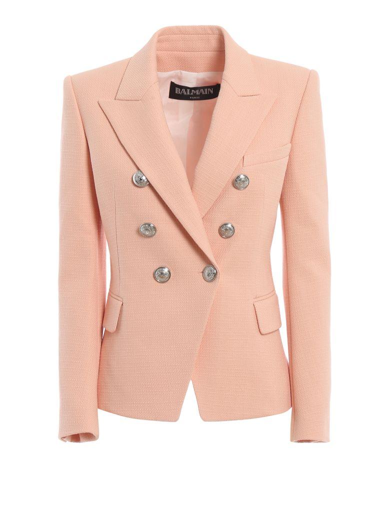 Balmain Cotton Natte Double-breasted Pink Blazer - Pink