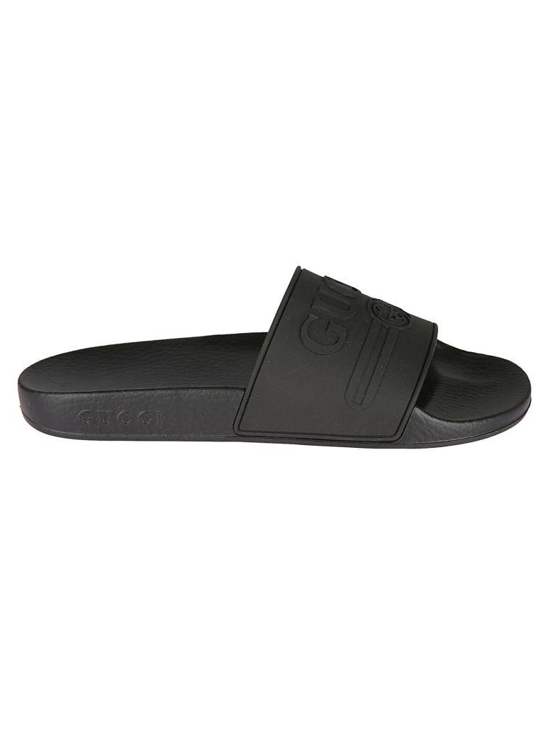 Gucci Embossed Logo Sliders - black
