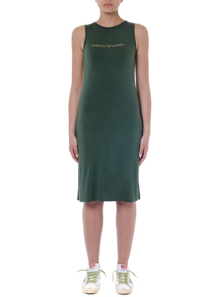 Emporio Armani Military Green Viscose Dress With Logo - Military green